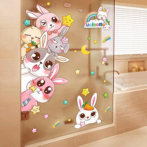 DSSJ Pegatinas de Azulejos de baño Pegatinas de Puerta de Vidrio de baño Impermeables Que Cubren el pequeño patrón Feo Inodoro Lindo Papel Tapiz
