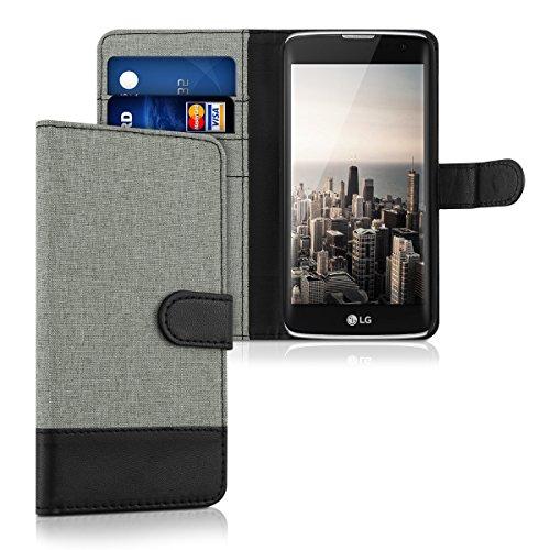 kwmobile Custodia Compatibile con LG K7 - Cover a Portafoglio Porta Carte Tessuto Simil Pelle Stand - Case Magnetica