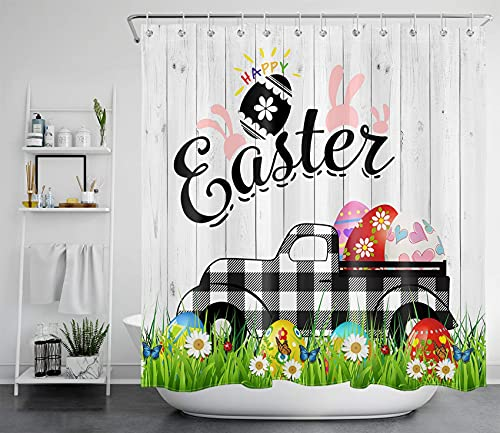 ECOTOB Happy Easter Shower Curtain,Black and White Buffalo Plaid Truck Pull Colorful Easter Eggs on Rustic Farm Wood Shower Curtain for Bathroom,Waterproof Fabric Shower Curtain with Hooks,69x70 Inch…