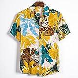 SCLDX Camisa Hawaiana para Hombre - Camisa De Playa De Verano Funky Casual Camisa De Manga Corta con Botones Blusas De Cuello Vuelto con Estampado De Flores para Fiestas De Vacaciones Ropa, Amaril