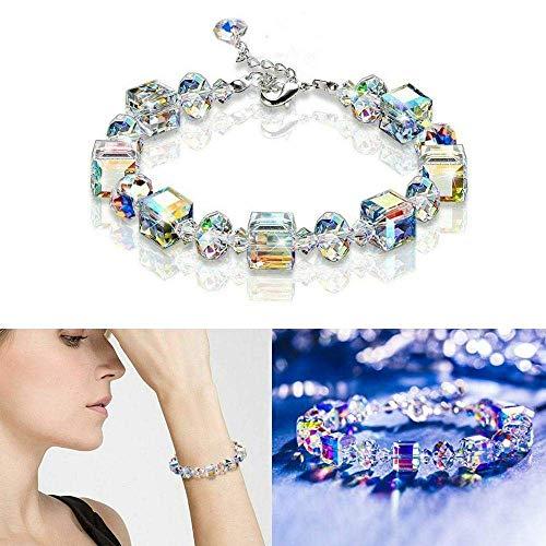 LUCKYYL Pulsera de Cristal Aurora Borealis, un Poco de Romance para Mujeres, con Cadena de extensión, Papel para Envolver Regalos, para Mujeres y niñas