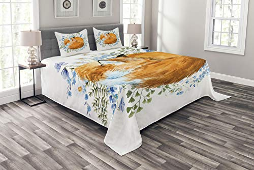 ABAKUHAUS Fuchs Tagesdecke Set, Sleeping Fox Aquarellen, Set mit Kissenbezügen Feste Farben, für Doppelbetten 264 x 220 cm, Orange Blue Olivgrün
