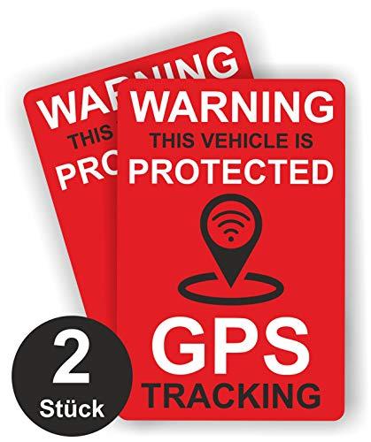 GPS Tracking Aufkleber - Rot - Glänzend - 60 x 40 mm - Sticker für Fahrrad, Motorrad und Auto (Außenklebend)