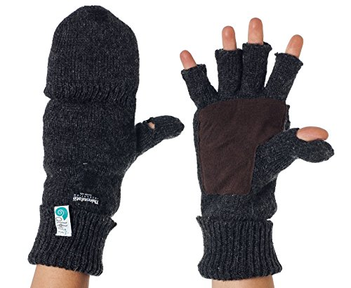 Alki'i Suede Palm Wool Thermal Insulation Fingerless Texting Work Gloves with Mitten Cover, Gray, One Size
