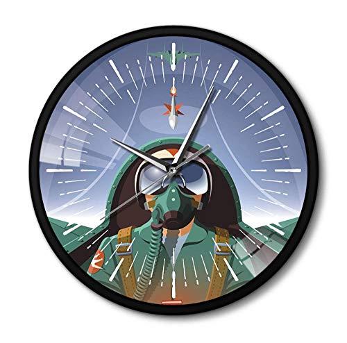 DFERT Reloj De Pared Reloj De Pared De Avión De Piloto Militar En Cabina De Avión, Decoración del Hogar De Aviación, Reloj De Arte De Pared De Aviador, Avión Volador, Reloj-Marco De Metal