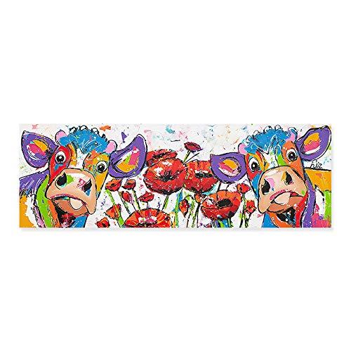MXK Lindo Colorido Abstracto Vaca Floral Lienzo Pinturas Cartel e impresión para habitación de niños Cuadros Decorativos de Arte de Pared decoración del hogar 115x35cm sin Marco