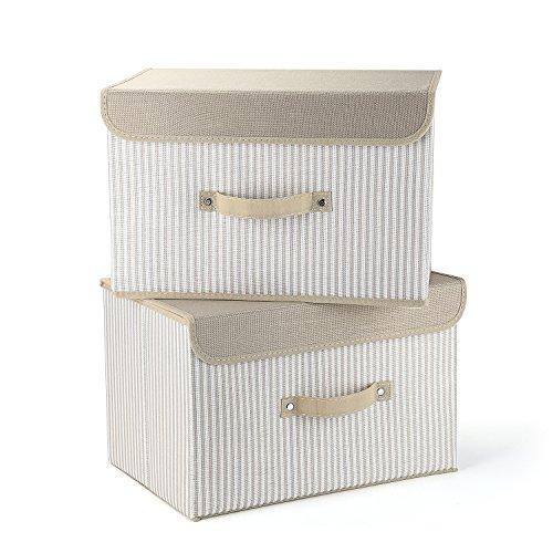 MEE'LIFE Cajas de Almacenamiento Juego de 2 cestos de Tela Plegables Crema
