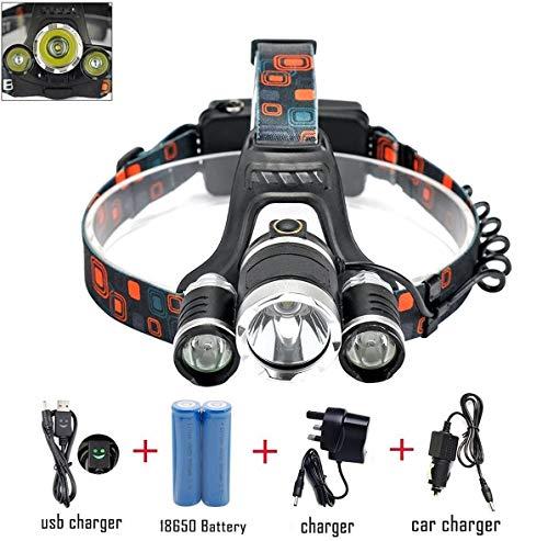 Generic Lampe frontale étanche 6 000 lm 3 x XML T6 LED pour la course à pied, le camping, la lecture, la pêche, la chasse, la randonnée, le joggingChargeur voiture/AC+ 2 piles 18650 3 000 aMh
