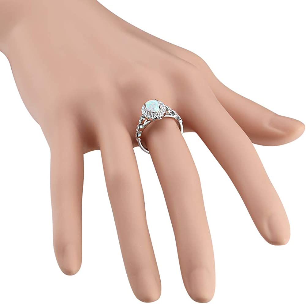 Lavencious 925 Sterling Silver Rhodium Plated with White Oval Opal//Cubic Zirconia Engagement Rings for Women Size 6-9