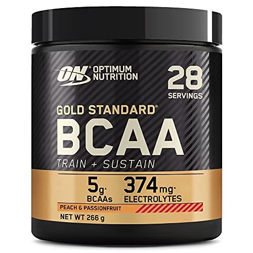 Optimum Nutrition Gold Standard BCAA Polvo, Suplementos Deportivos con Aminoacidos, Vitamina C, Zinc, Magnesio y Electrolitos, Melocotón y Fruta de la Pasión, 28 Porciones, 266g, Embalaje Puede Variar