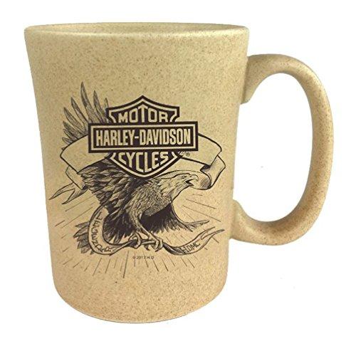 Harley-Davidson Speckle B&S Eagle Ceramic Coffee Cup, Natural 15 oz. 3SMN4907