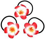 made in zen Juego de 3elástico pelo flor hair Elastic Flower Tiaré Vahiné Tahiti rojo