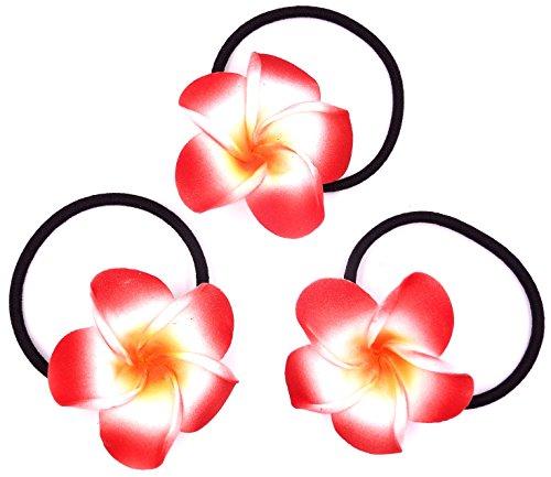 Made in zen Lot de 3 Élastique à Cheveux Fleur Hair Elastic Flower Tiaré Vahiné Tahiti Rouge