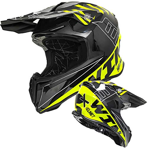 XIUJC Motorcycle Helmet Mountain Race Cool Cross-Country Running Helmet,Motocross Off Road Unisex Safety Protective Helmet for Teenagers Boys Girls and Adults