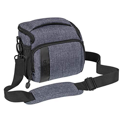 PEDEA DSLR-Kameratasche Fashion Fototasche für Spiegelreflexkameras mit wasserdichtem Regenschutz, Tragegurt und Zubehörfächern (Größe L, grau)