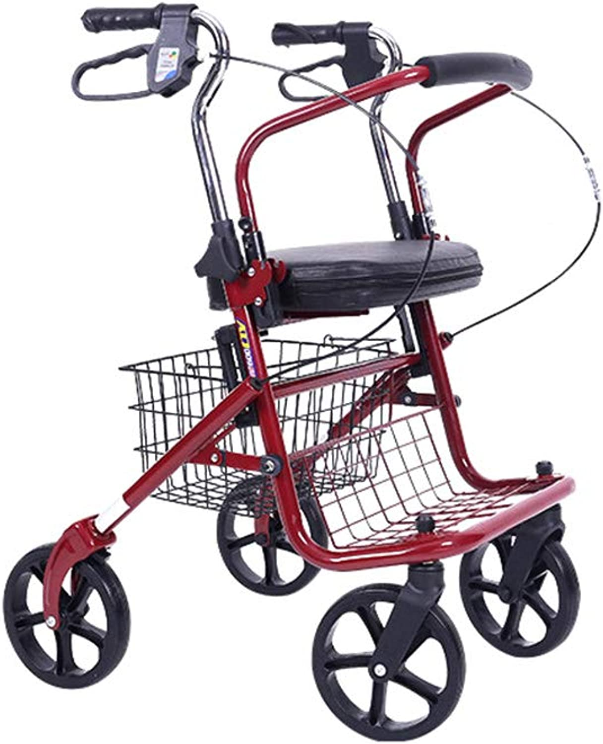 Lightweight Folding Four Wheel Rollator Walker with Padded Seat, Lockable Brakes, Ergonomic Handles,Unisex,Silver