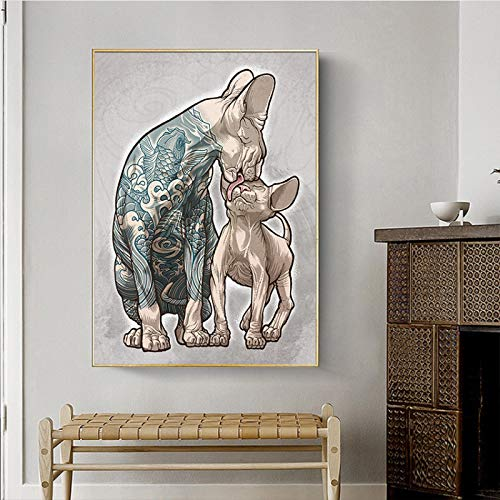 """KMMK Canvas Prints Tattoo Hairless Cat Painting Picture Wall Art Non-Woven Posters Living Room Bedroom Home Decor 23.6""""x35.4""""(60x90cm) Frameless"""