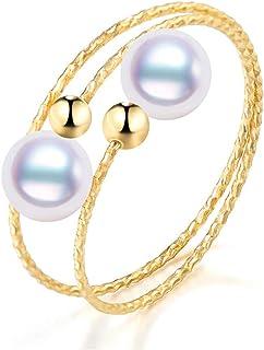 潇若漓 18K金 海水珍珠戒指【双子星】日本akoya 气质多层 珍珠戒指 女 白色系