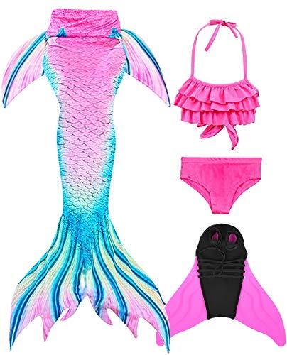 Wishliker Mädchen Meerjungfrauen Schwanz Zum Schwimmen mit Meerjungfrau Flosse und Bikini Set- Prinzessin Cosplay Kostüm, 4 Stück Set