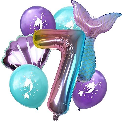 DIWULI, Gran Juego de Globos Sirena, 1x XL número 7 número de Globo + 2X Globo de Aluminio + 4X Globo de látex 7º cumpleaños del niño niña, Fiesta de Lema, decoración
