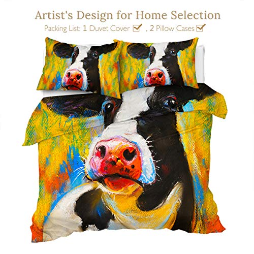 Sleepwish Teen Bedding Boys Girls Cow Print Full Size Oil Pastel Painting Quilt Cover Kids Duvet Cover Sets 3 Pieces Modern Farm Animals Comforter Covers