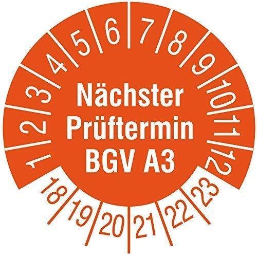 TE-Office 500 Stück Prüfaufkleber Prüfplaketten 18-23 Nächster Prüftermin BGV A3 orange Rolle 1-bahnig 30 mm Durchmesser laminiert abriebfest