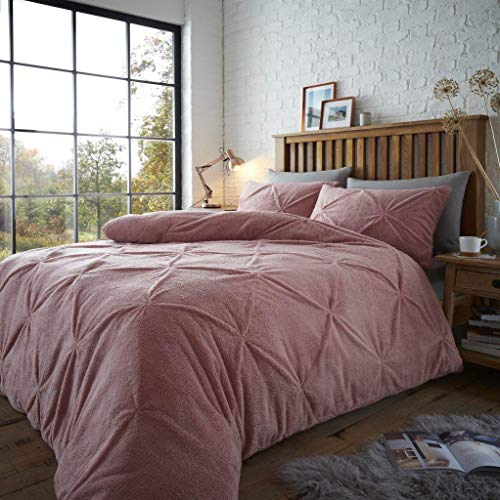 Haani Thermal Fluffy Warm Teddy Fleece Alford/Pintuck Chiswick Duvet Cover with Pillowcase. (Pink, King(220 x 230cm))