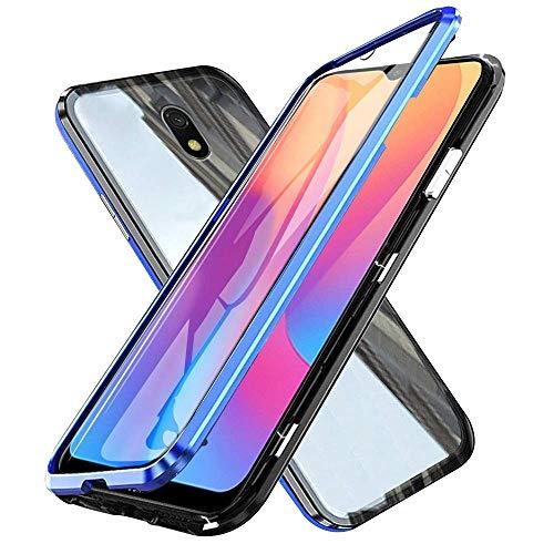 Hüllecool Hülle für Xiaomi Redmi 8A Magnetic Adsorption Handyhülle, Magnetisch Schutzhülle 360 Grad Gehärtetes Glas Komplettschutz Durchsichtig Metall Bumper mit Panzerglas - Blau