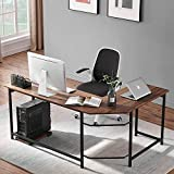 <span class='highlight'><span class='highlight'>VECELO</span></span> Computer Desk L Shaped Workstation Corner Table with CPU Stand Home office Large Desktop PC Gaming Table, Brown