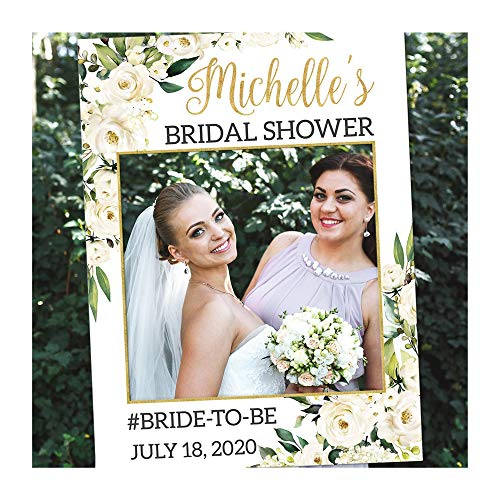 Floral Bridal Shower Photo Booth Frame - Personalized Bridal Shower Photo Props – Custom Bridal Shower Frame Photo Booth
