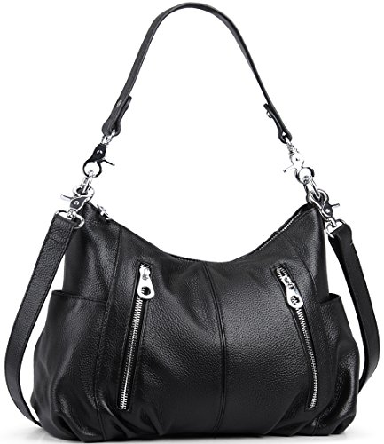 Heshe Women's Leather Shoulder Handbags Cross Body Bags Hobo Totes Top Handle Bag Satchel and Purse for Ladies (Black-H)