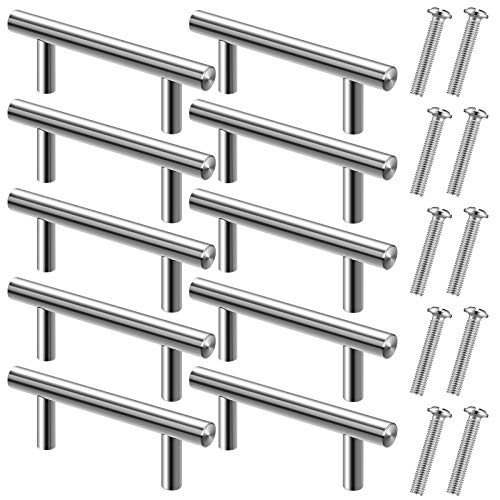 10 Pieces Tray Handles for Resin Mold, Gartful Silver Metal Handles for Epoxy Silicone Casting Mold, T-Shape Resin Tray Handles with Screws for Faux Agate Tray Serving Board Wine Cabinet Drawer Door