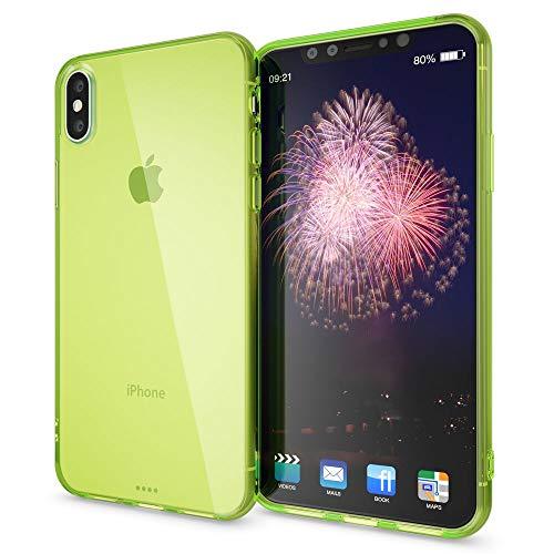 NALIA Handyhülle kompatibel mit iPhone X XS, Ultra-Slim Silikon Hülle Cover Crystal Schutzhülle Dünn Durchsichtig, Etui Handy-Tasche Schale Backcover Transparent Smart-Phone Bumper, Farbe:Grün