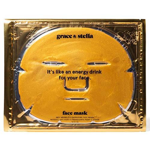 Grace & Stella Anti-Wrinkle and Energizing Face Masks | 24k Gold Collagen Facial Masks | Hydrating Mask | For Anti-aging, Firming, & Face-Lifting | Moisturizing, Revitalizing, Soothing & Rejuvenating