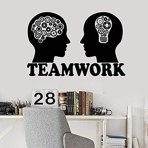 Calcomanías De Vinilo Para Pared Inteligencia Emocional Bombilla Cerebro Equipo Pegatinas De Pared Trabajo En Equipo Decoración De Oficina Para Decoración De Pared 64X42 Cm