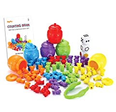 GREAT VALUE! Our 82 Pieces Play-Act Counting/Sorting Bears Contains 72 Cute Bears in 6 Bright Colors, 1 Jumbo Tweezers, 6 Colorful Sorting Cups/Honey Jars, 3 Dice and 1 Instruction Book Creating a Fun Experience for Toddlers. There Are Many Possibili...