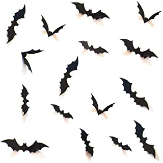 Decorative 3D Bats Wall Stickers, Halloween Party Supplies DIY Decal Wall Stickers Halloween Eve Decor Home Window Decorations Set, 48pcs