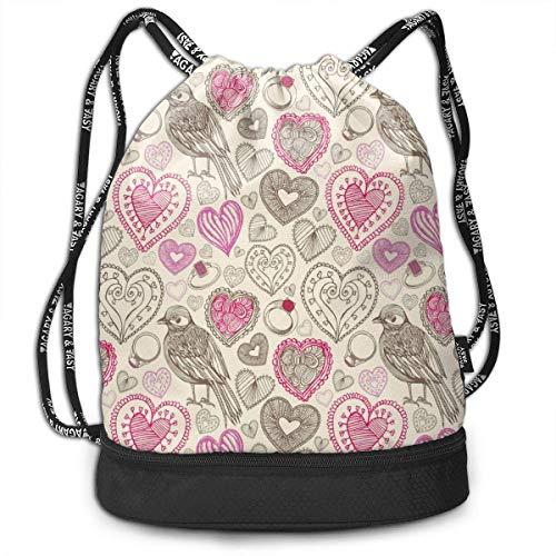 OKIJH Retro Birds Hearts Doodles Men and Women General Backpack Multifunctional Bundle Backpack Fashion Travel Backpack Lightweight Sackpack Sport Gym Bundle Backpack