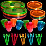 Upper Midland Products Neon Glow Party Supplies Set, Servers 32, Includes 9 and 6 Inch Plates, 9 OZ Cups, Forks,Spoons, Knives, 32 of Each, Perfect for Blacklight UV Parties