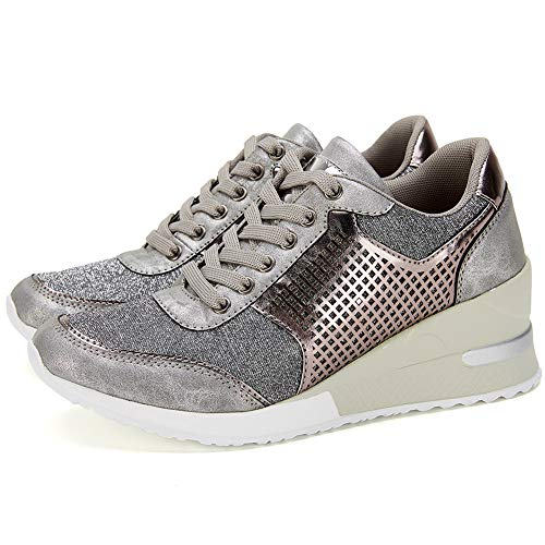 High Heeld Wedge Sneakers for Women - Ladies Hidden Sneakers Lace Up Shoes, Best Chioce for Casual and Daily Wear SM1-SILVER-6.5