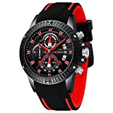 Men's Watches, MINI FOCUS Waterproof Sports Watches for Men, Men's Wrist Watches with Silicone Strap Relojes De Hombre(Red)