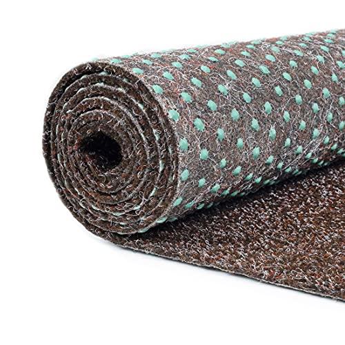 Carpeto Rugs Kunstrasen Balkon Teppich Wasserfest - Kunstrassenteppich Outdoor - Rasenteppich Balkon Meterware mit Noppen - Kunstgras Balkonteppich - Braun - 200 x 100 cm