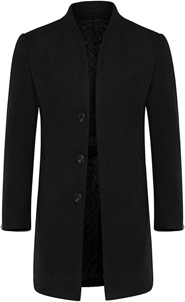 Mens Stylish Woolen Overcoat Slim Fit Mid Warm Stand Collar Long Indefinitely Excellence
