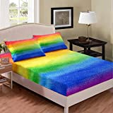 Erosebridal Rainbow Printed Sheet Set Abstract Watercolor Fitted Sheet Pastel Colorful Bedding Set for Kids Teens,Luxury Room Decoration 2Pieces Bedding Set with 1 Pillow Case,Twin Size