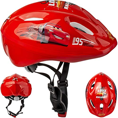 Kinderhelm - Disney Cars / Lightning McQueen Gr. 52 - 56 - circa 3 bis 15 Jahre - verstellbarer Helm - für Kinder Junge Auto Fahrzeuge / Fahrradhelm größenverstellbar Schutz - Francesco