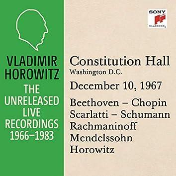 Vladimir Horowitz in Recital at Constitution Hall, Washington D.C., December 10, 1967