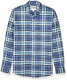 Goodthreads Slim-fit Long-Sleeve Stretch Oxford Shirt (All Hours) Camisa abotonada, Denim Blue Multi Plaid, XXL