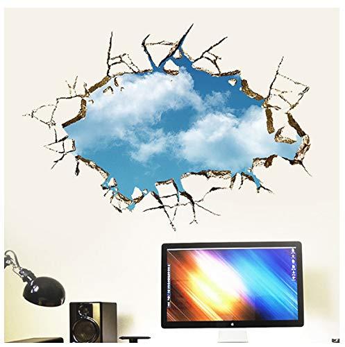 Defekter Wolkenwandaufkleber Des Blauen Himmels Des Lochs 3D Wohnzimmer-Schlafzimmerdekorationsabziehbildlandschaftsfensterausgangsdekorationsaufkleber