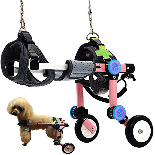 HobeyHove Adjustable Dog Wheelchair,Fordable Dog Wheelchair for Back Legs,Assist Small Pets with Paralyzed Hind Limbs to Recover Their Mobility Two Colour 5-Size (XS Pink)