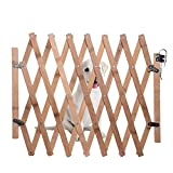 soundwinds Dog Safety Gate Indoor Wooden Retractable Dog Fence Pet Gate Guard Portable Folding Dog Sliding Door for Doorway Stairs Kitchen